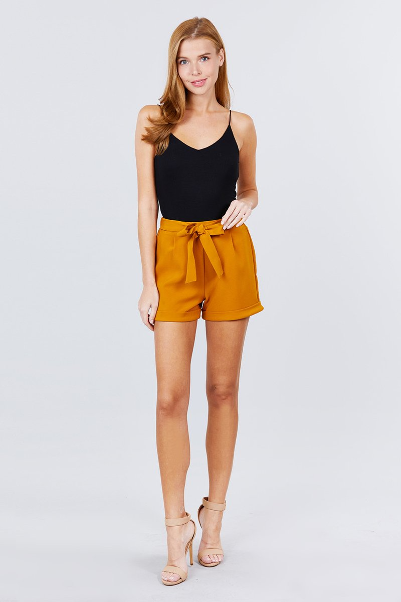 Front Tie W/elastic Band Short Pants - CYFASHION