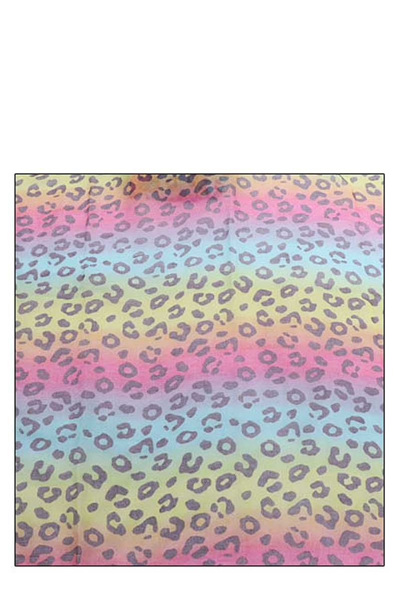 Fashion Rainbow Color Leopard Print Scarf - CYFASHION