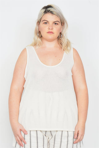 Plus Size Sheer Ivory Ribbed Causal Tank Top-CYFASHION
