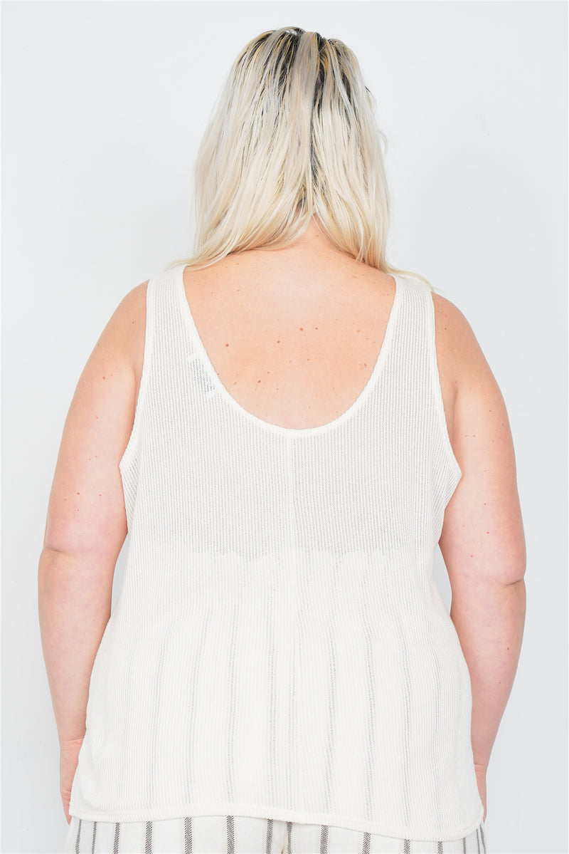 Plus Size Sheer Ivory Ribbed Causal Tank Top - CYFASHION