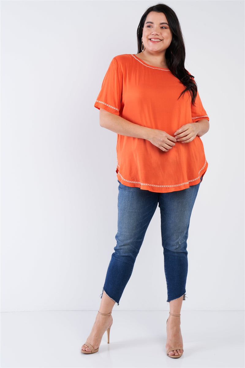Plus Size Embroidered Hem Short Sleeve Top - CYFASHION