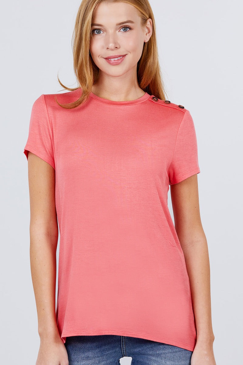 Short Sleeve Crew Neck W/shoulder Button Detail Rayon Spandex Top - CYFASHION