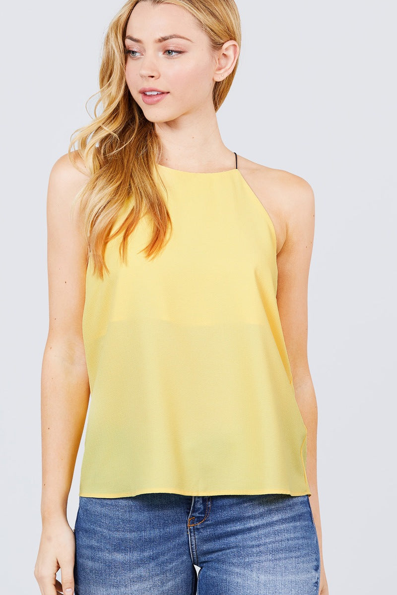 Elastic String Halter Neck Woven Top - CYFASHION