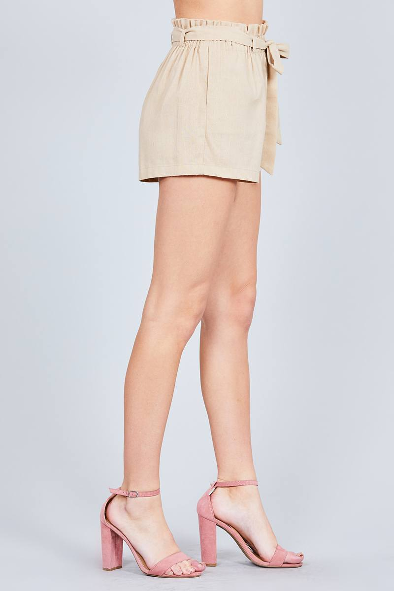 Paper Bag W/bow Tie Short Linen Pants - CYFASHION