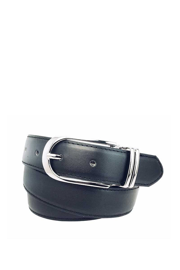 Womens Clamp Round Buckle On One-size-fits-all Plain Feather Edged Dress Belt - CYFASHION