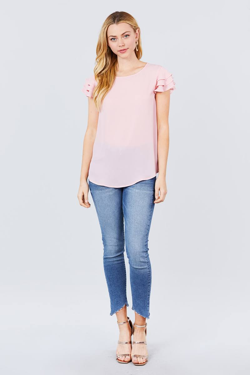 Short Cap Ruffle Sleeve Round Neck Woven Top - CYFASHION