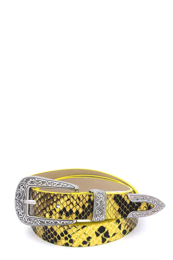 Snake Pattern Pu Leather Belt - CYFASHION