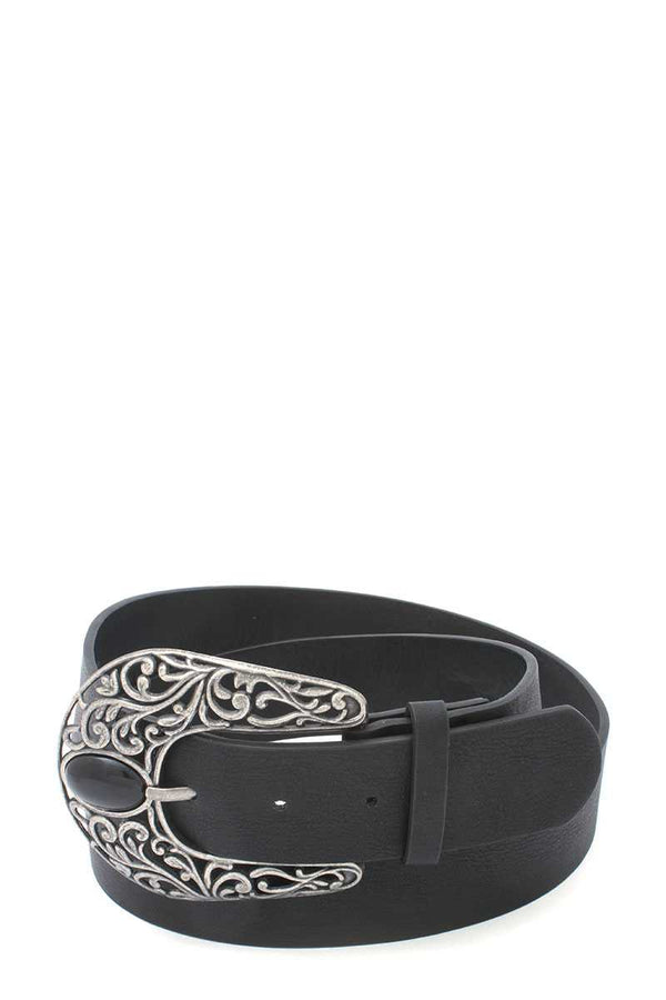 Cut Out Filiree Metal Buckle Pu Leather Belt - CYFASHION