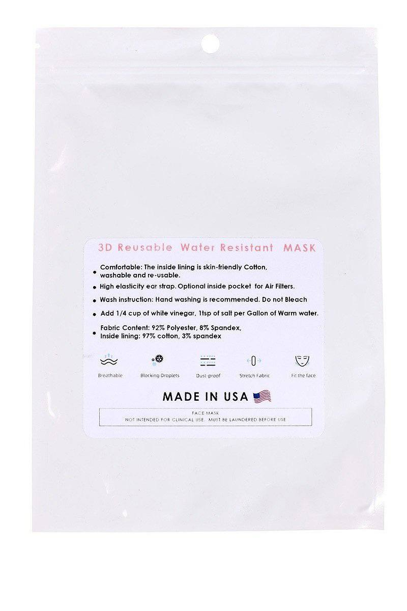 Made In Usa 3d Reusable Water Resistant Face Mask - CYFASHION