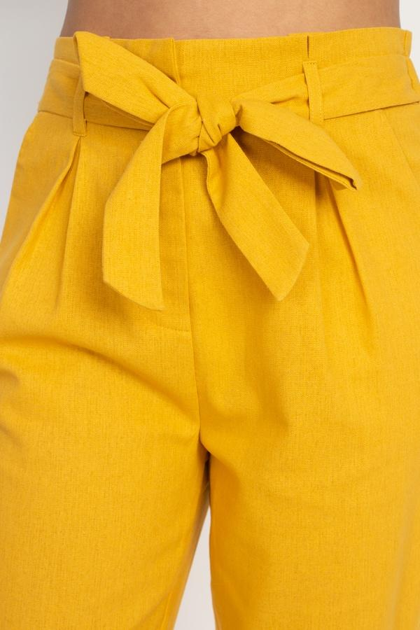 Belted Linen Paper Bag Pants - CYFASHION