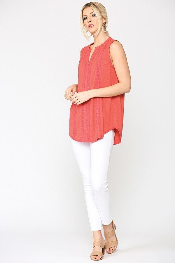 Sleeveless Lace Trim Tunic Top With Scoop Hem - CYFASHION