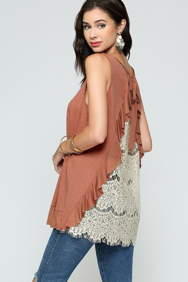 Sleeveless Back Lace Ruffle Detail Tank Top - CYFASHION