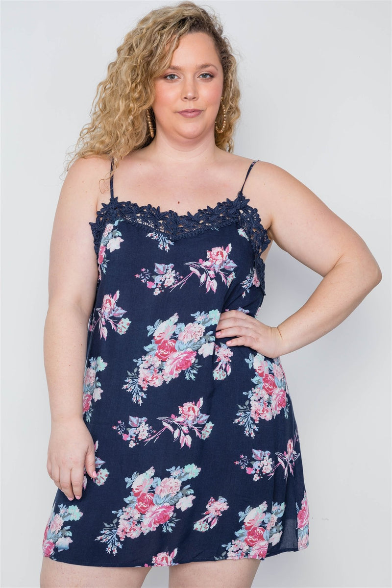 Plus Size Navy Floral Crochet Boho Mini Cami Dress - CYFASHION