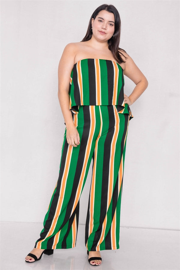 Plus Size Green Multi Stripe Open Back Jumpsuit - CYFASHION