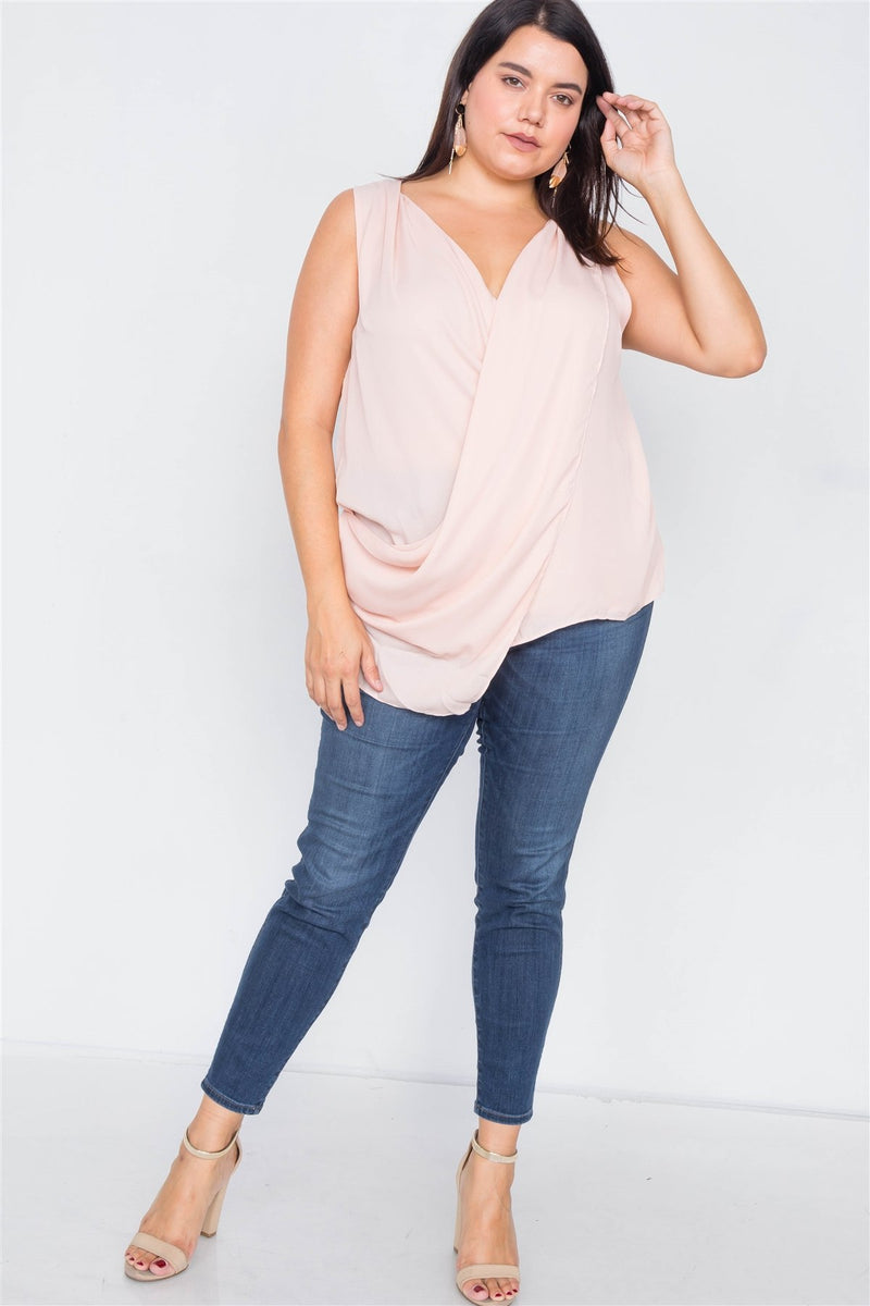 Plus Size Sheer Blush Surplus V-neck Chic Sleeveless Blouse - CYFASHION