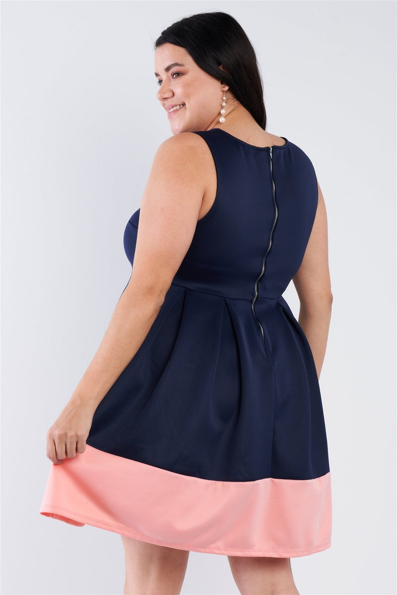 Plus Size Navy Pleated Colorblock Mini Dress - CYFASHION
