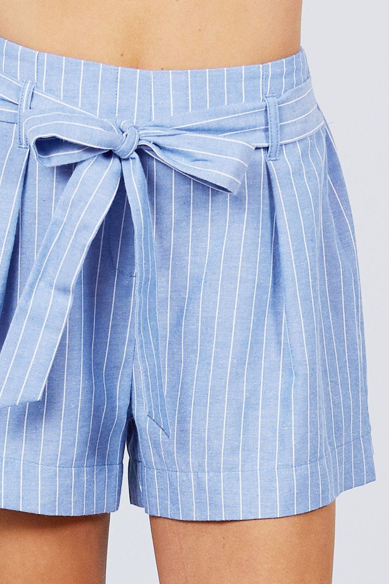 Waist Bow Tie Y/d Stripe Short Pants - CYFASHION