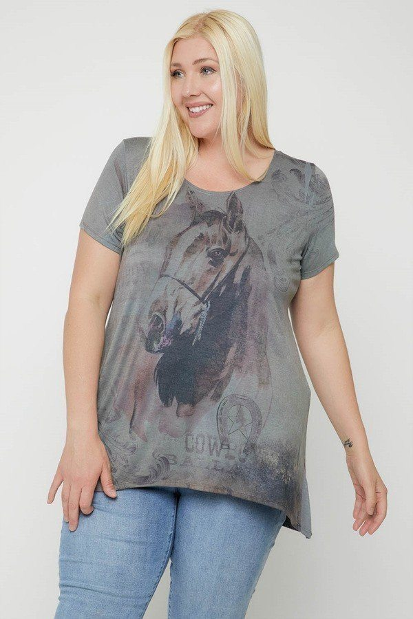 Horse Sublimation Print Short Sleeve Top - CYFASHION