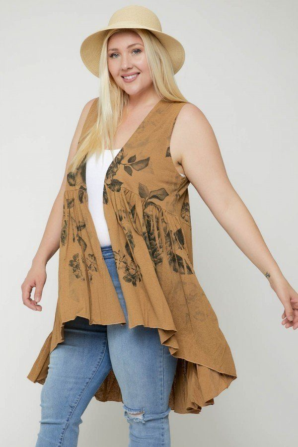 Floral Sublimation Print  Sleeveless Cardigan - CYFASHION