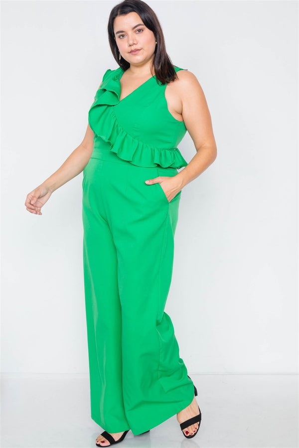 Plus Size Green Flounce Surplus V-neck Wide Leg Jumpsuit - CYFASHION