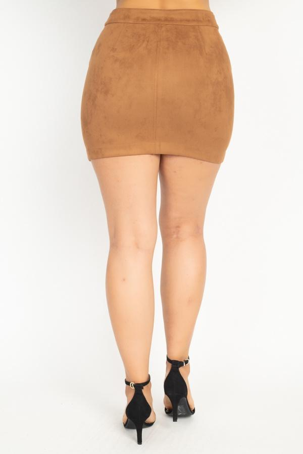 Faux Suede Front Zip Skirt - CYFASHION
