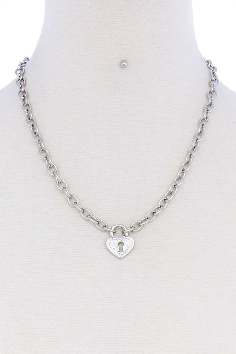 Fashion Heart Lock Chain Necklace And Earring Set - CYFASHION
