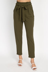 Paperbag Self Tie Pants-CYFASHION