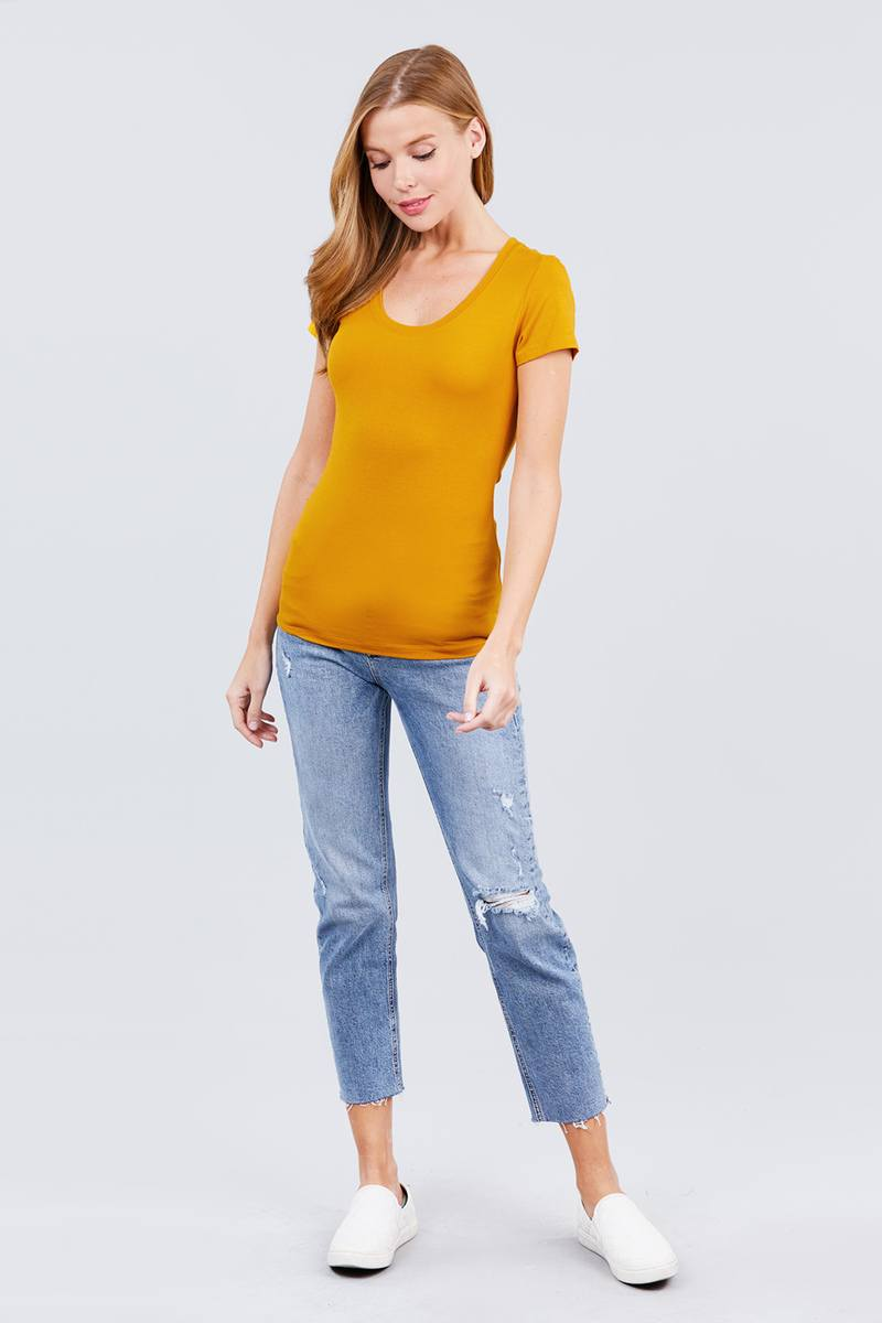 Short Sleeve Scoop Neck Tee - CYFASHION