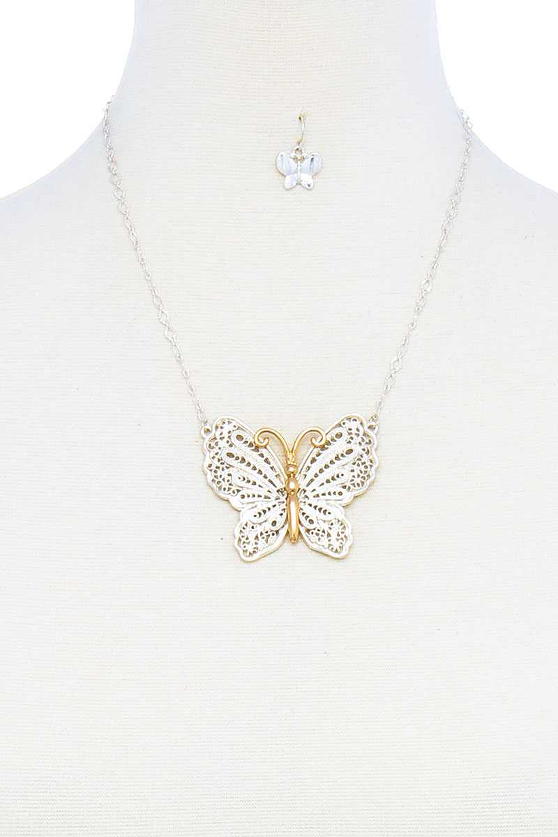 Fashion Stylish Butterfly Pendant Necklace And Earring Set - CYFASHION