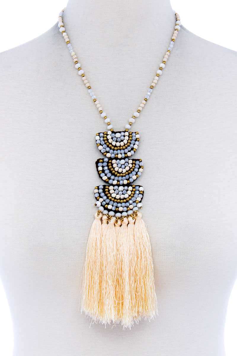 Designer Multi Tassel And Beaded Necklace - CYFASHION