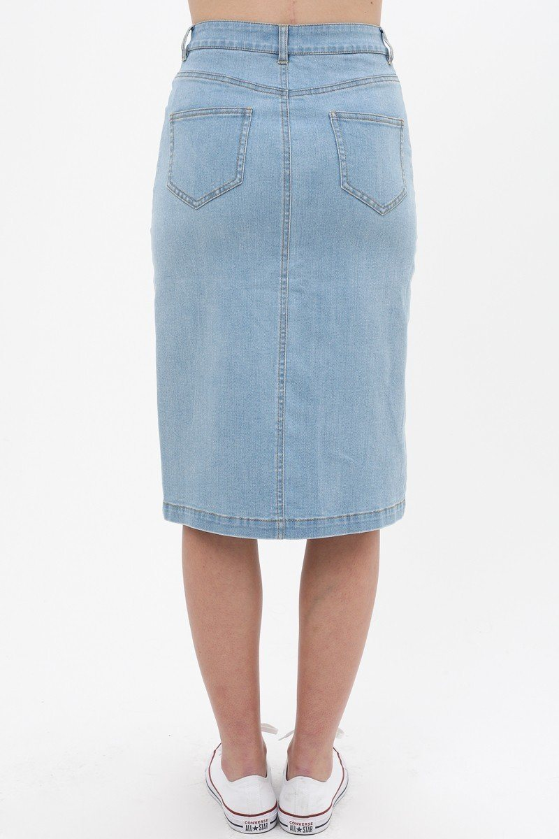 Denim Mid Thigh Length Skirt With Button Down Front Detail - CYFASHION