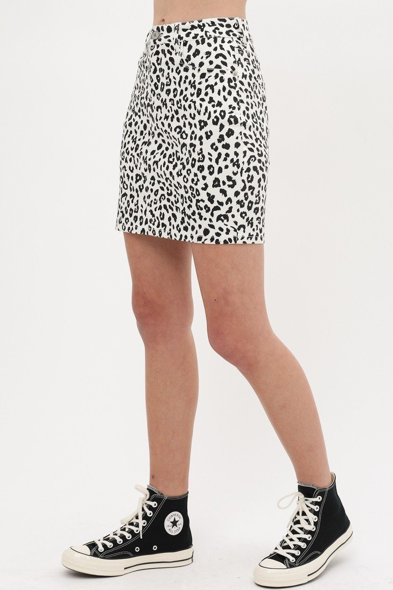 Leopard Printed Cotton Span Mini Skirt - CYFASHION