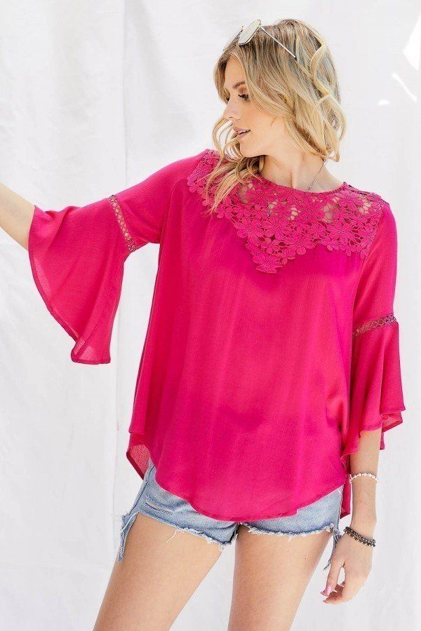 Cute Floral Mesh Lace Accent Yoke Crochet Detailed Tie-back Bell Sleeve Blouse Top - CYFASHION
