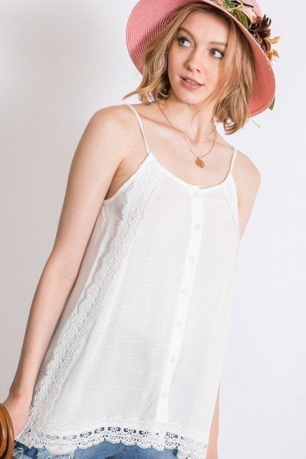 Boho Scallop Lace Trim Detailed Button Down Solid Subtle Textured Slit Side Overlay Layered Cami Top - CYFASHION