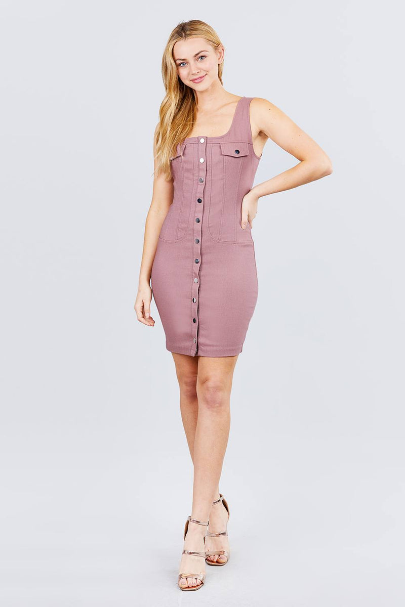 Sleeveless Deep Square Neck Button Down Detail Mini Woven Dress - CYFASHION