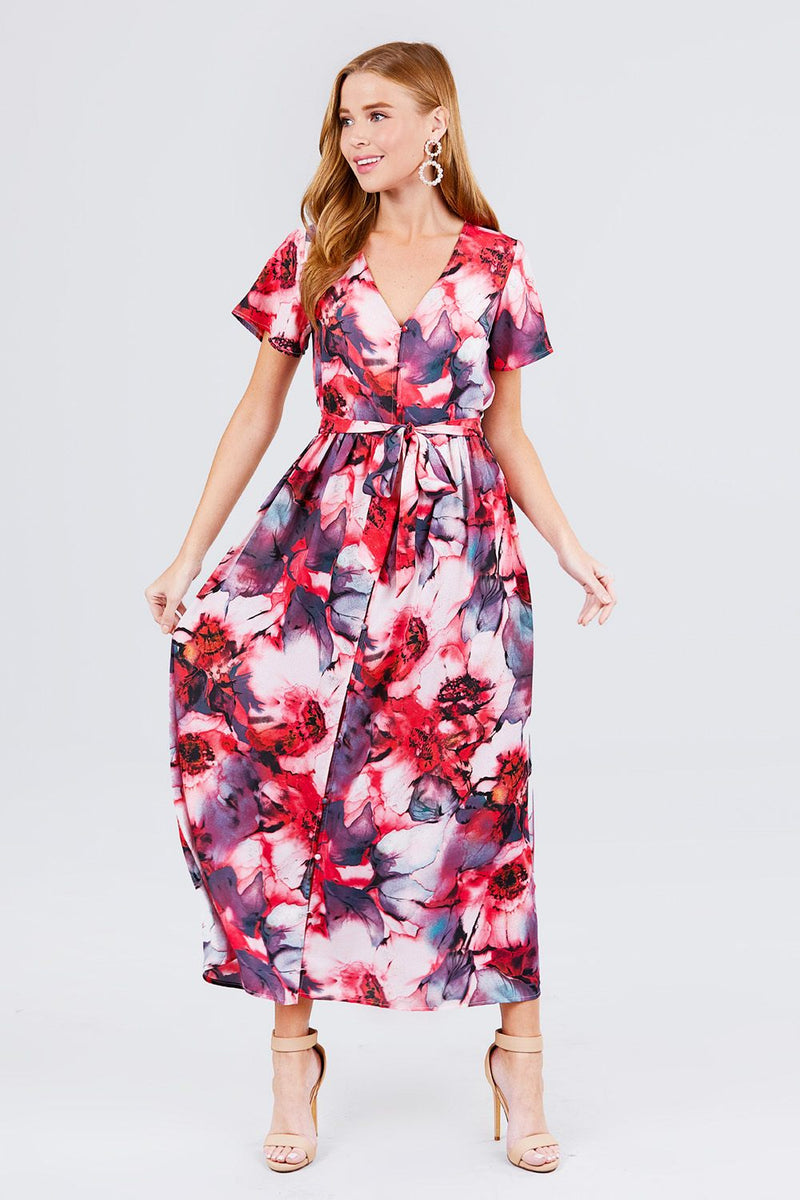 Short Sleeve V-neck Button Down Belted Print Woven Maxi Dress - CYFASHION