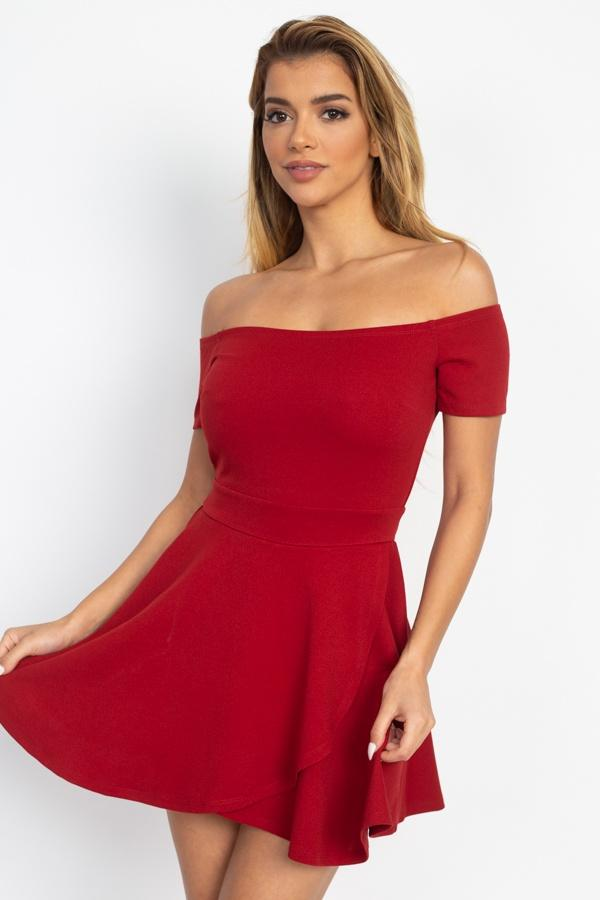 Fit & Flare Off Shoulder Romper - CYFASHION