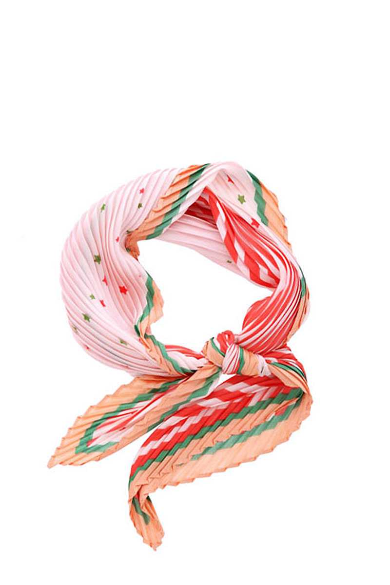 Stripe Little Star Print Pleated Bandana - CYFASHION