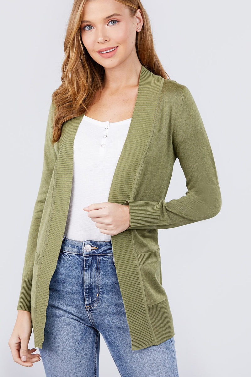 Long Sleeve Rib Banded Open Sweater Cardigan W/pockets - CYFASHION