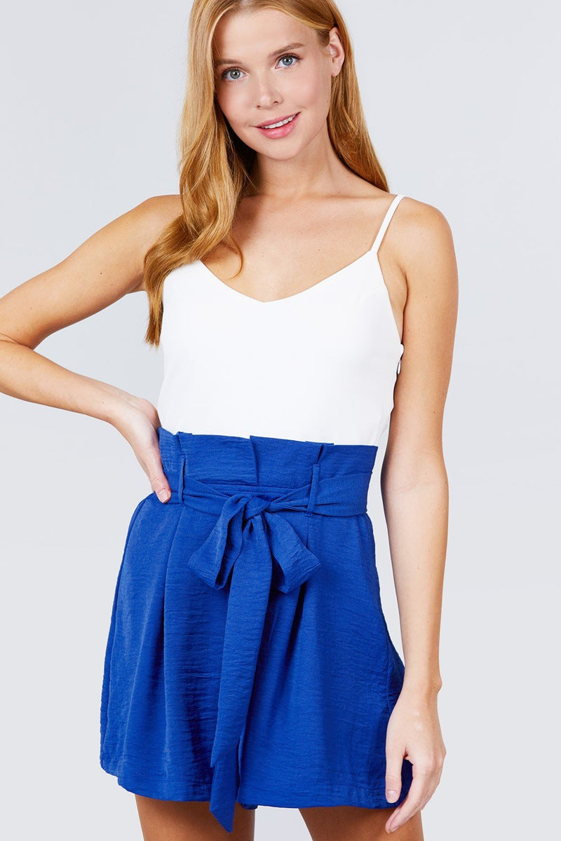 V-neck W/belted Tie High Waist Cami Woven Romper - CYFASHION