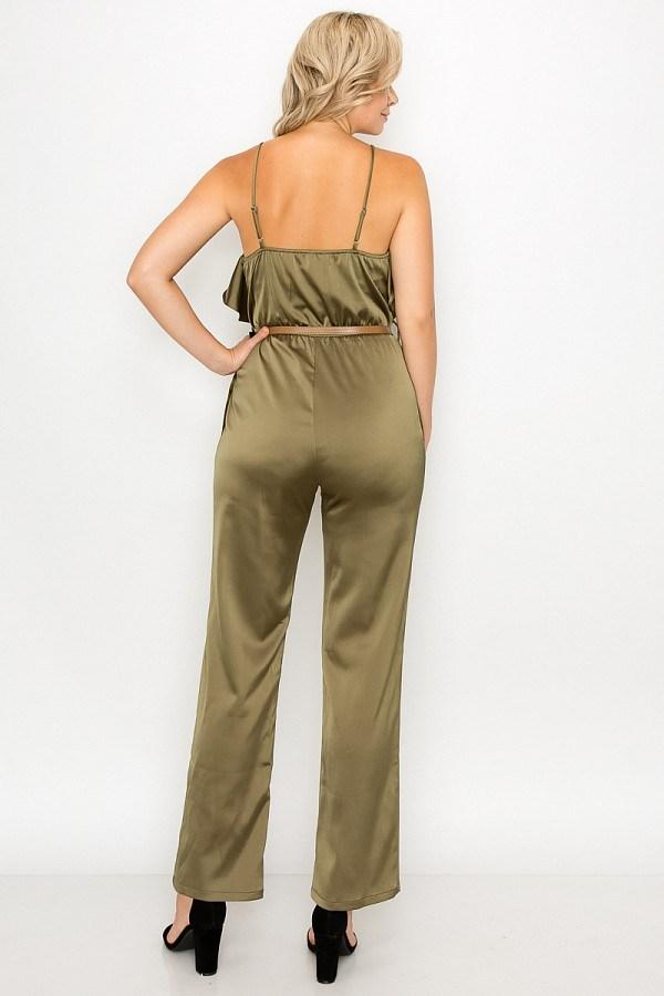 Ruffle Trim Belted Jumpsuit - CYFASHION