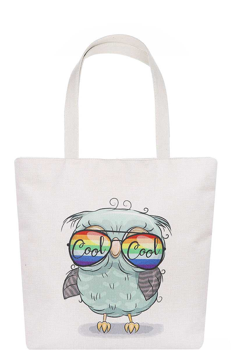 Stylish Cute Sunglasses Owl Print Ecco Tote Bag - CYFASHION