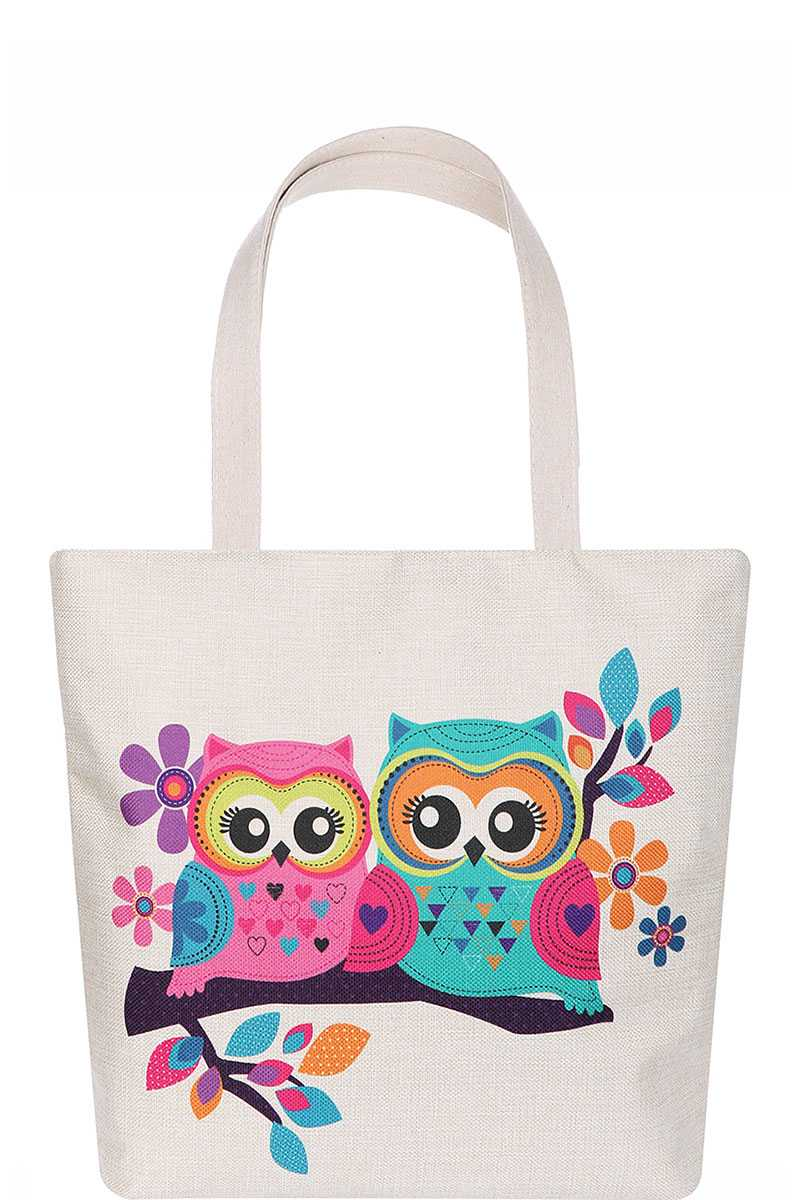 Cute Owl Couple Cartoon Print Ecco Tote Bag - CYFASHION