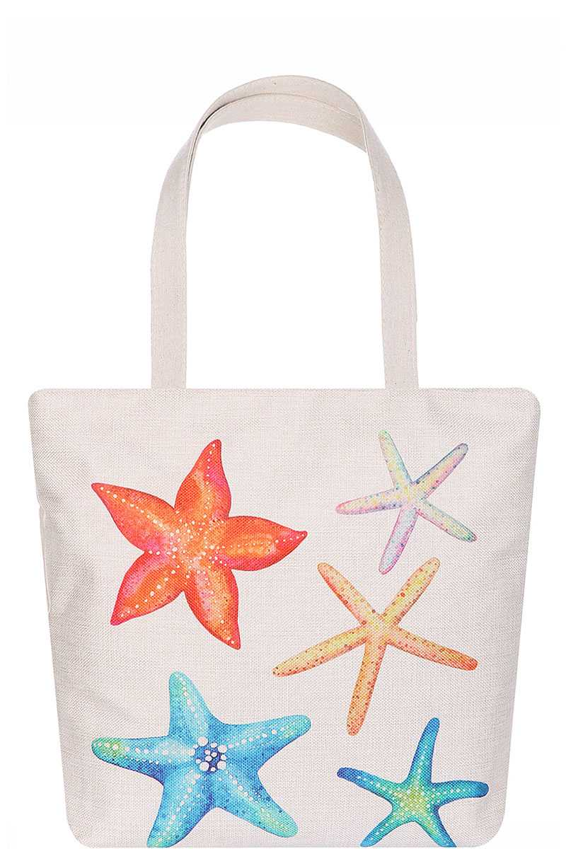 Rainbow Color Star Fish Print Ecco Tote Bag - CYFASHION