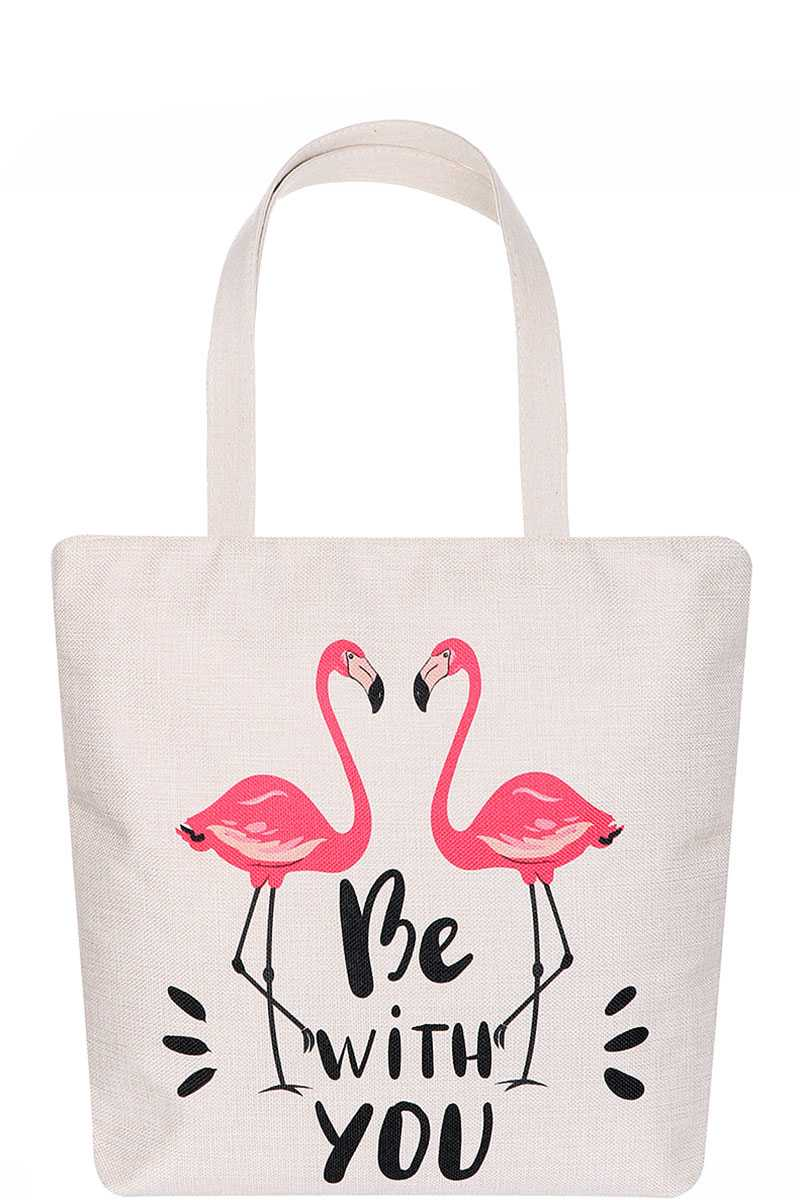 Cute Flamingo Be With You Print Ecco Tote Bag - CYFASHION