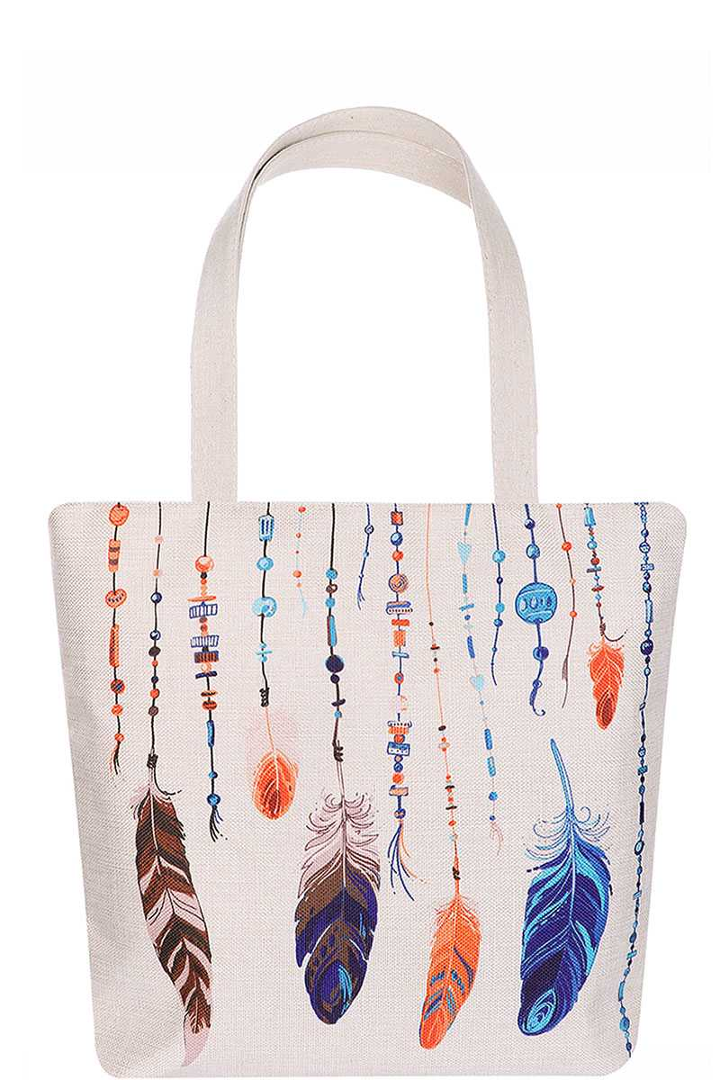 Stylish Multi Color Feather And Bead Print Ecco Tote Bag - CYFASHION