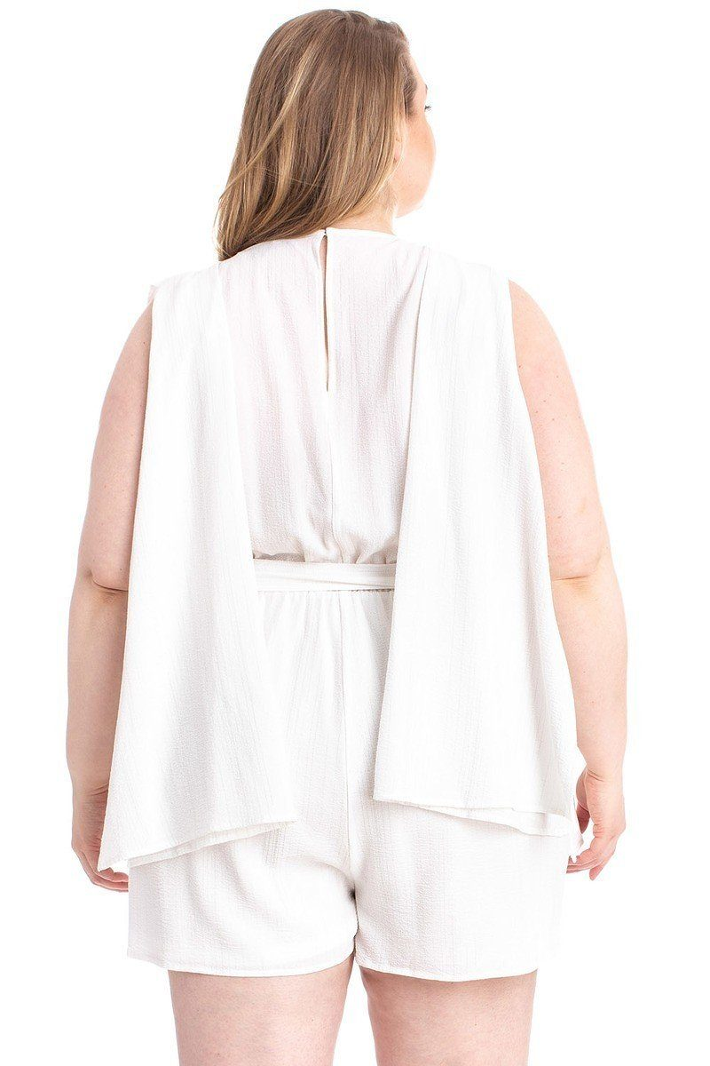 Shimmer Fabric Draped Open Sleeve Romper - CYFASHION