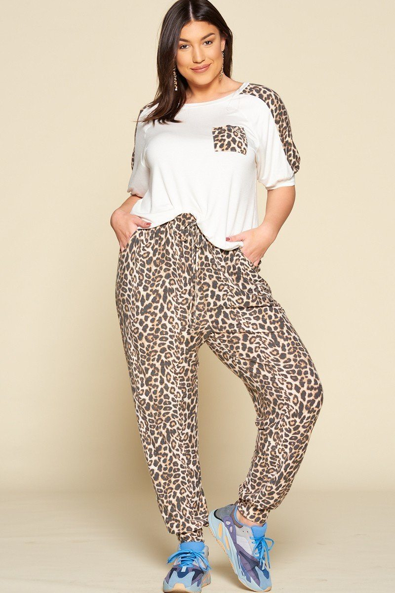 Plus Size Cute Animal Print Pocket French Terry Casual Top - CYFASHION