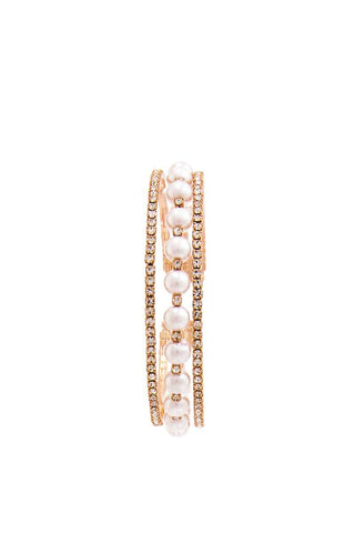 Rhinestone And Pearl Trendy Bracelet-CYFASHION