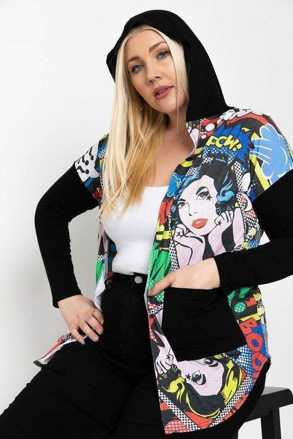 Comic Print, Lightweight Cardigan - CYFASHION